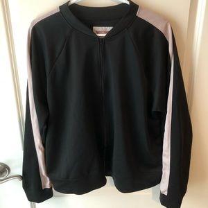 Black Zip Up Jacket with Light Pink Arm Stripe